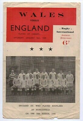 1949 Pirate programme Wales v England Rugby Union International