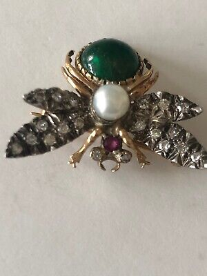 Antique Silver & Gold Pearl Diamond Green and Red stone Bug Pin Brooch