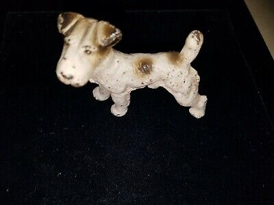 Vtg Antique Likely Hubley Painted Cast Iron Fox Terrier Dog Figurine Paperweight