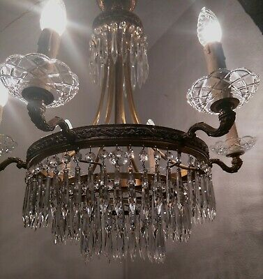 Chateau Chic Vintage French 6 Lights Tiered Icicle Crystal Waterfall Chandelier