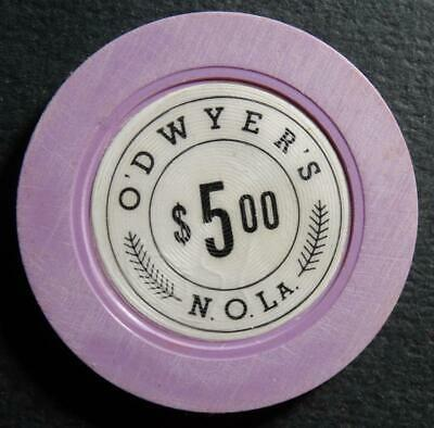 Vintage O'Dwyer's $5.00 Illegal Casino Gambling Chip New Orleans Louisiana