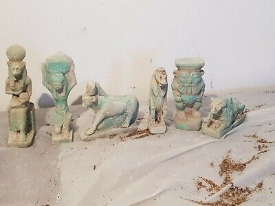 Rare Antique Ancient Egyptian 6statues Amulet Gods Sekhmet Hathor Bes1780-1620BC