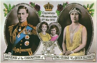 ❤ alte POSTKARTE_KING_GEORGE VI_Coronation_QUEEN_ELIZABETH_Mother_Princesses