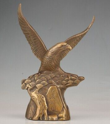 Antique Chinese Bronze Statue Eagle Old Handicraft Collection Gift Decoration
