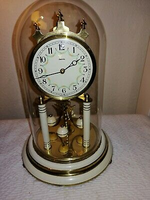 Vintage, Franz Hermle 400 Day Anniversary Clock in Glass Dome, Working Order.