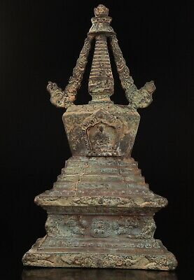 Antique China Bronze Statue Pagoda Old Sacred Mascot Spiritual Collection Gift