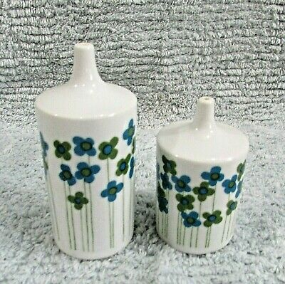 White Porcelain Hand Painted Floral Takahashi Japan Salt Pepper Shakers FREE S/H