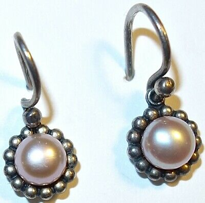 LOVELY PAIR of ANTIQUE Native American STERLING SILVER Genuine PEARL EARRINGS #1