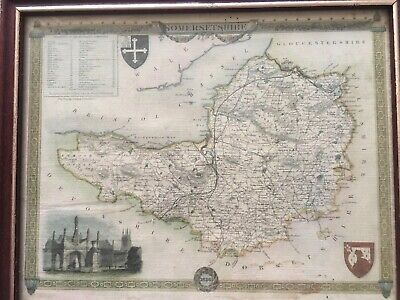 Vintage Framed Lightograpgic Map Of Somersetshire 1836 Thomas Moule
