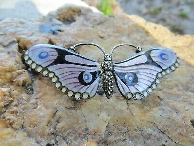 Lovely Art Deco English Guilloche Enamel Sterling Silver Butterfly Pin J Atkins