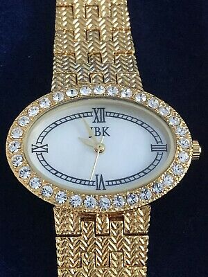 Vintage Camrose & Kross JBK Watch Gold with Crystals, Oval face by Seiko