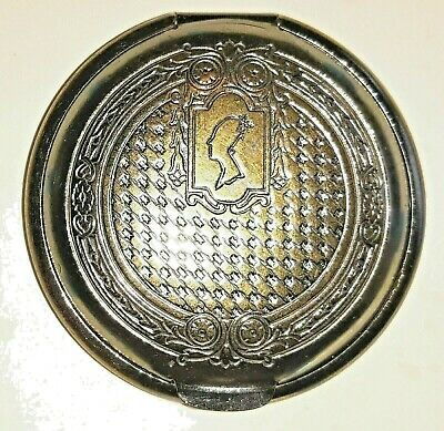 Antique Mirrored French Victorian Fleur-de-Lis Brass Hinged Snuff Pill Box 1.75""