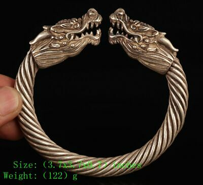 Chinese Tibet Silver Bracelet Holy Dragon Mascot Christmas Decoration Gift Old