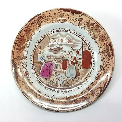 Antique Early  Tin Glaze English Plate with Oriental Scene
