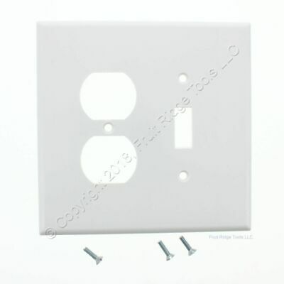New Leviton OVERSIZE White 2-Gang Switch Receptacle Outlet Wallplate Cover 88105