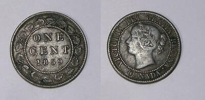 1859 Canada Victoria Large Cent Nice Vf Inv#389-7