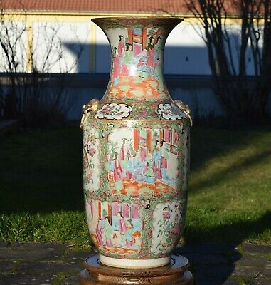Large antique canton rose vase from the 19th Century 45cm 17,7 Inch