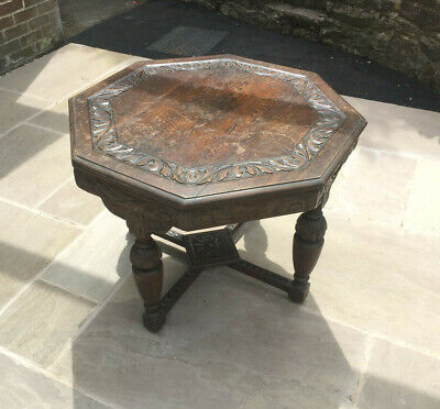 Antique Victorian Hand-Carved Octagonal Oak Table with Decorative Features