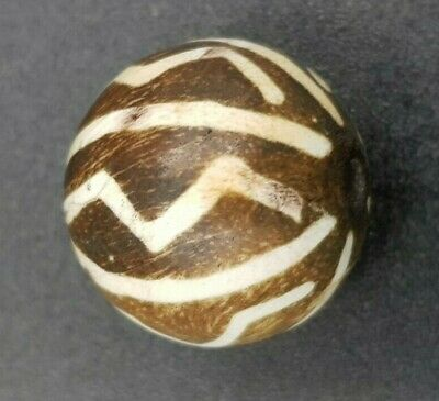 Antique Pumtek Etched Water Melon Chin Tribe Opalised Palm Wood Medicine Bead