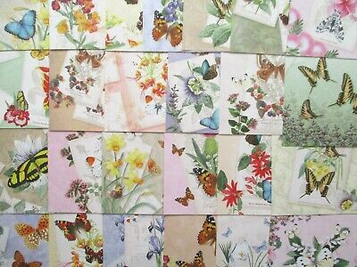 24 x Hunkydory Little Square Book Butterfly Botanica Paper toppers - butterflies