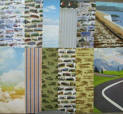 12 x A4 Hunkydory Planes Trains & Automobiles Papers travel Double Sided