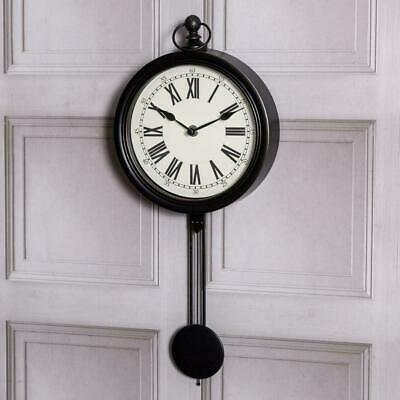 Large Black Pendulum Clock Roman Numerals Wall Mounted Vintage Hallway Home Chic