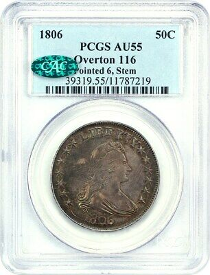1806 50c PCGS/CAC AU55 (Pointed 6, Stems, Overton 116) Great Type Coin