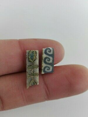 Ancient Egyptian Roman Flower Glass Mosaic Old Egypt Antique Two Fragment Rare
