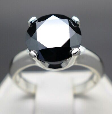 3.02cts 9.50mm Real Natural Black Diamond Engagement Size 7 Ring & $1710 Value.