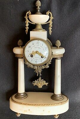 Antique French Polished Marble & Bronze 8 Day Mantle Clock Paris Time & Strike