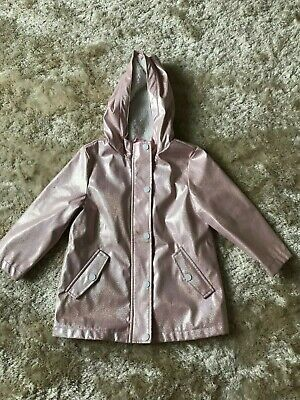 Little girl's shiny pink waterproof warm fleece lined raincoat age 4 - 5