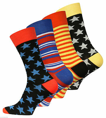 """4 or 8 Pairs Men's Trendy Socks """"Stars and Stripes"""" Rich Cotton, Comfort Cuf"""