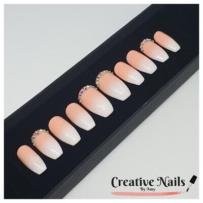 Hand Painted Press On False Nails - Pink French Ombre With Rhinestones Set