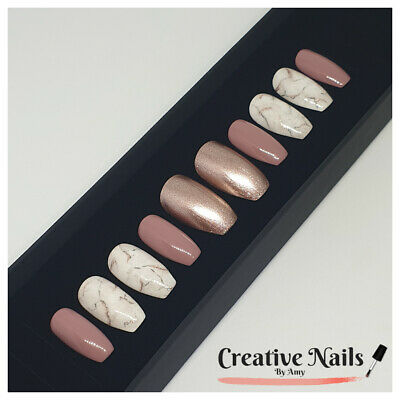 Hand Painted Press On False Nails - Rose Gold Pink Marble Set