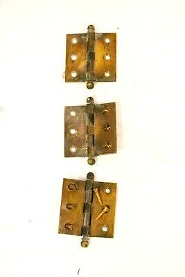 "Antique 2.5"" Cabinet Hinges Ball Top Lot of 3"
