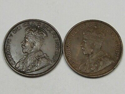 2 XF Canadian Large Cent Pennies (w/ Full Crowns): 1912 & 1913. CANADA.  #133