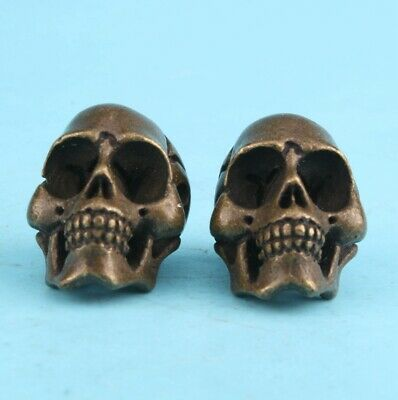 2 Retro China Bronze Statue Miniature Skull Exorcise Old Gift Collectible