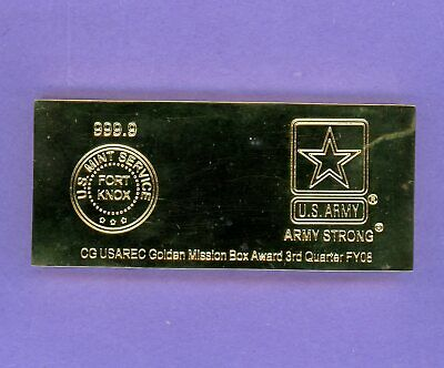 U.S. ARMY FORT KNOX KENTUCKY Replica Faux Gold Bar Bullion Paperweight 14.9 OZ'