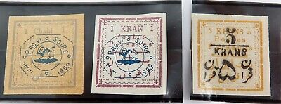 .GOOD GROUP !!  1903 MINT 3 x PERSANES CHAHI & KRAN IMPERF MLH STAMPS.
