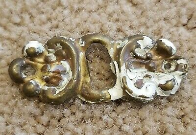 Antique Shabby Brass Chic Furniture Drawer Key Hole Cover Plate Vtg Escutcheon 3