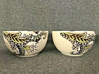 Set of 2 Tabletops Gallery Hand Painted Angela Soup/Cereal Bowls Paisley, NEW
