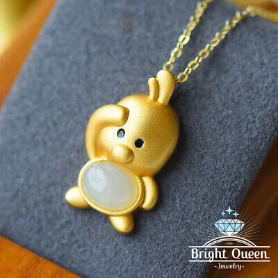 Natural White Jade Yellow Gold Plated Solid 925 Sterling Silver Pendant Necklace