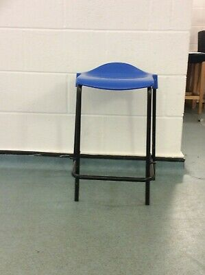 Industrial stacking school lab stools Plastic Seat - Blue