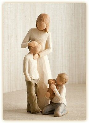 Willow Tree Figurines Set Mother with Two Sons Individually Boxed