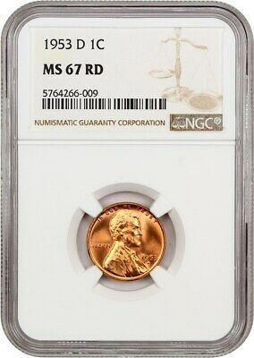 1953-D 1c NGC MS67 RD - Lincoln Cent