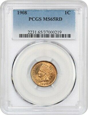 1908 1c PCGS MS65 RD - Indian Cent - Pretty Gem