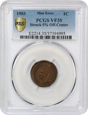 Mint Error: 1903 1c PCGS VF35 (Struck 5% Off-Center) - Indian Cent