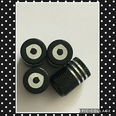 smart car black wheel valves dust caps engraved set of 4