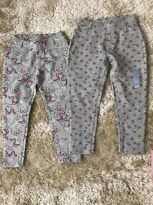 2 pairs girls grey unicorn flower print joggers leggings trousers age 4 new