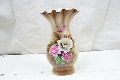 Antique Vase Ruffle Pinched Rim White Pink Blooming Roses European Porcelain